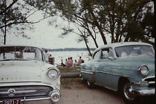 TWO OLD CARS  PARKED BY THE LAKE  VINTAGE 35MM SLIDE RED BORDER