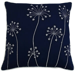 Floral Embroidered Navy Blue Pillow Cover Square Cotton Pillow Case Indian