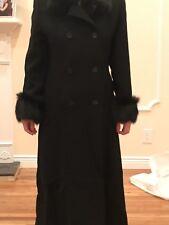 ISAAC MIZRAHI Vintage Women's Black Wool Long Coat Size 8