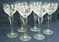 """""""ASCOT"""" by ROYAL BRIERLEY set of SIX Beautiful tall HOCK WINE GLASSES, Etched"""