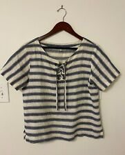 Beautiful Madewell blue and white linen striped lace up short sleeve top S