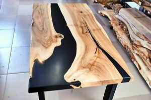 24''x36'' Epoxy Table Natural Wooden Table, Black Resin River Coffee Table Top