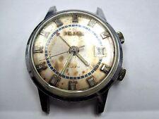 Vintage Helbros Alarm Date 2-Button Base Metal Wrist Watch 17 Jewels.