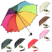 Foldable Anti-UV Lady Flouncing Princess Dome Parasol Sun/Rain Umbrella 2018