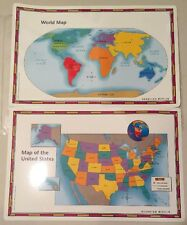 United States USA US World Desk Map PLACEMATS States Reverse Home School Study