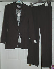 NEW Sz 6-8 Next Tencel 2 Piece Suit Dark Grey Jacket Silver lining Long Trouser