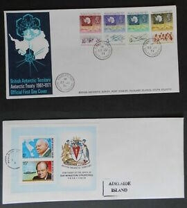 British Antarctic TERR.  2 FDC's 1971 and 1974 as pictures. Signy and Adelaide.