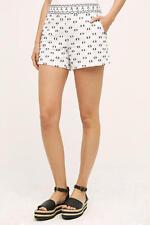 New Anthropologie Linen Clipdot Black White Pockets Shorts 8