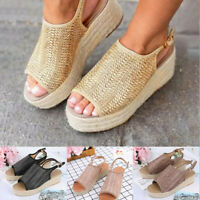 Fashion Women Platform Wedge Peep Toe Weaving Sandals Slipper Fish Mouth Shoes
