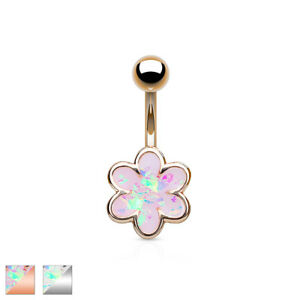 Opal Glitter Filled 6 Petal Flower 316L Surgical Steel Belly Bar / Navel Ring