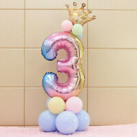 32inch Crown Number Foil Balloon Digit Ballon Birthday Anniversary Party Decor