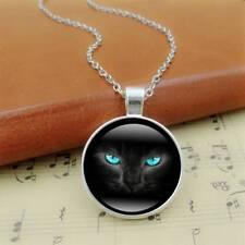 Unique Glass time gems 3 colors Chain Black Cat Picture Vintage Necklace Pendant