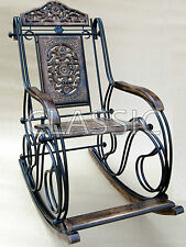 Wooden Wrought Iron Folding Rocking Chair ✿ Quality Handicraft Hand Carved Wood