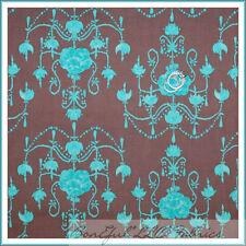 BonEful Fabric FQ Cotton Quilt Brown Aqua Blue Baby Flower Damask Small Nursery