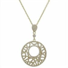 Sterling Silver Gold Plated Circle Inverted Teardrop Filigree CZ Pendant