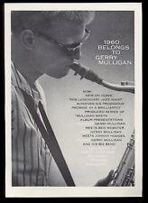 1960 Gerry Mulligan photo Verve Records vintage print ad