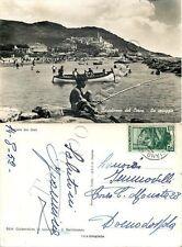 Cartolina di San Bartolomeo al Mare, bambino pescatore e spiaggia - Imperia