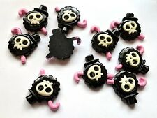 10 pcs skull resin flatback black and pink hat