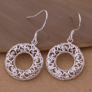Stunning Silver Filigree Circle Heart Drop Earrings Halloween Day Gift