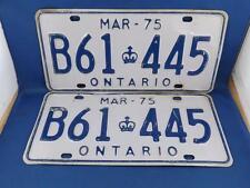 ONTARIO LICENSE PLATE S PAIR SET 1975 B61 445 ANTIQUE CAR SHOP MAN CAVE SIGN