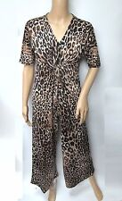 Brown Animal Print Ruched V-neck Pull On Short Sleeve Jumpsuit Size XL