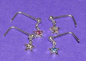 Silver pre bent L Shaped Nose Stud with a 3 mm crystal set star dangling down