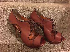 Next Ladies Peep toe Leather Shoes Retro Style Brown Uk 7 41 Laces Excellent