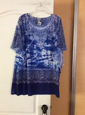 New Catherine's - Blues/multi Color Sheer Sleeves Women Top Plus Size 2X/3X