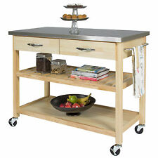 BCP Natural Wood Kitchen Island Utility Cart with Stainless Steel Top Restaurant