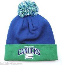 Vancouver Canucks Mitchell & Ness  KH42Z NHL Team Pom Knit Hockey Hat Beanie
