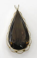 14k Yellow Gold Pear Shaped Smokey Quartz Charm Necklace Pendant ~45.9g