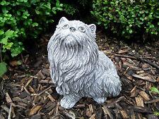 Ausgefallene Steinfigur Langhaar Katze Sitzend Frostfest Steinguss Garten  Deko
