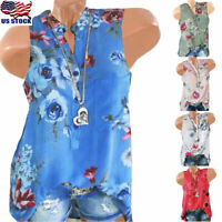 Plus Size Womens Floral Vest Tank Tops Ladies Summer Sleeveless Blouse Shirt Tee