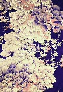 Vintage Japanese SILK Kimono FURISODE Fabric Panel  #F7