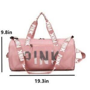 Pink Gym Duffle Bag Waterproof Large Sequins Bags Travel Duffel Bags with PINK