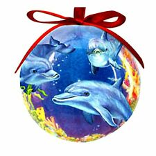 Dolphin Cove Christmas Ornament High Gloss Resin Red Ribbon 3 inch Ball