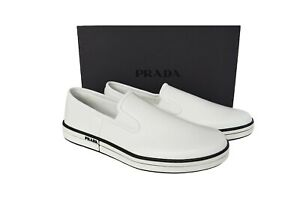 New Authentic PRADA Mens Shoes Loafers White Sz US10 EU43 UK9 4D3443