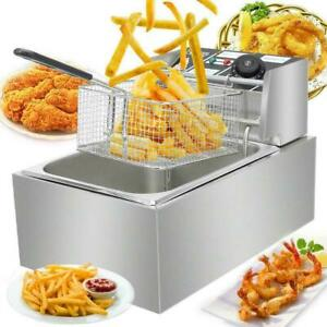 6L Commercial Electric Deep Fryer Fat Chip Frying Pan & Basket Stainless Steel