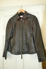 REAL Leather Jacket BLACK SUPER SOFT BIKER 14 DESIGNER flare peplum rrp €245.00
