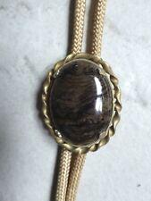 Vintage Western Bolo Tie Metal Slide Necktie Brown Polished Stone & Tan Cord