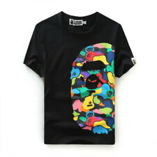 Bape A Bathing Ape Cartoon Camo Monkey Head Lovers Cotton Short Sleeve T-shirt