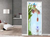 3D Water Drop Pink Flower Self Adhesive Door Murals Sticker Wallpaper Photo