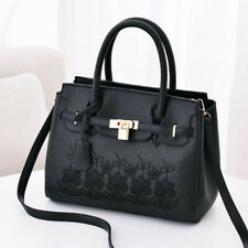 Fashion Sweet Floral Printed Solid Hand Bag - Black (LSG071043)