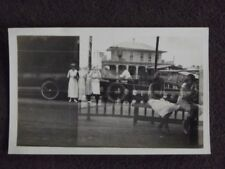 DOUBLE EXPOSURE,WOMEN ON BENCH OVER WOMEN STANDING IN FRONT OF CAR 1920's PHOTO