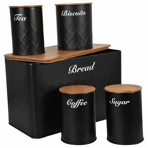 5Pcs Kitchen Storage Tins Canister Set Bamboo Lid Tea Coffee Sugar Bread Bin Jar
