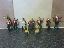 PRE-WAR CHARBENS LEAD PART SET OF 7x JACK's BAND TOY FIGURES & 2x CHAIRS