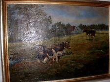 Ölgemälde des Malers Leopold.Kupczyk in Krefeld Kühe auf der Weide um 1940