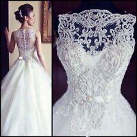 2017 White Ivory Wedding dress Bridal Gown Custom Size 2 4 6 8 10 12 14 16 18 20