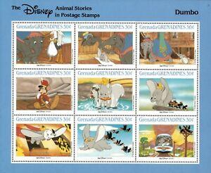 Grenada Grenadines 1988 - Disney, Dumbo - Sheetlet of 9 - MNH