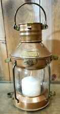 VINTAGE TUNG WOO ANCHOR COPPER BRASS NAUTICAL SHIP LANTERN CANDLE HOLDER